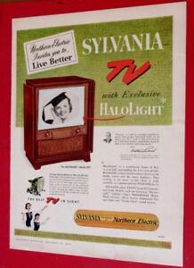 1954 SYLVANIA HALOLIGHT VINTAGE TV AD - ANONCE TELEVISION 50S