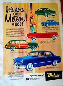 PUB ORIGINALE de METEOR 1950. SUPERBE. 15 X 11 pouces. + AUTRES
