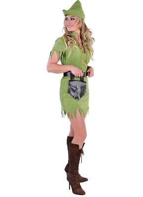 Robin Hood Peter Pan Jäger Girl Kostüm Kleid Damen Mittelalter Jägerin Hut Held