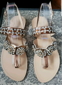 NewSergio Todzi Bronze Embellished/jewelled Sandals,4/37