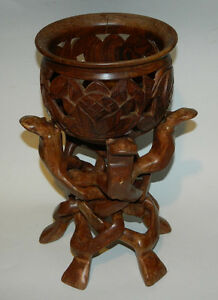 Vintage African wooden hand-carved bowl and circle of life stand