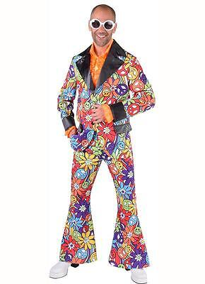 Disco Anzug Kostüm Herren 70er 80er Jahre Hippie Hippy Party Hippieanzug Jackett ()