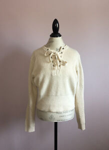 White // Cream Lace Up Sweater