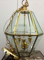 GLASS AND BRASS CHANDELIER