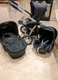 Maxi Cosi 3 travel system (pushchair, pram and car seat)