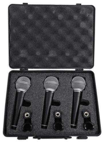 Samson R21 3-Pack Dynamic Vocal Cardioid Handheld Microphones+Mic Clips+Case