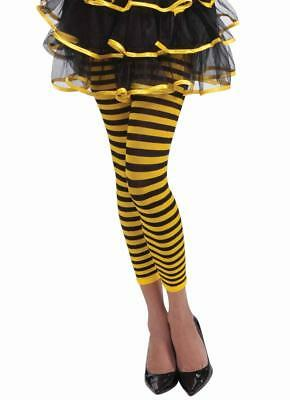 Bee Costume Accessories Adults (Bumble Bee Leggings Animal Striped Fancy Dress Halloween Adult Costume)