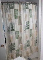 SHOWER CURTAIN & HOOKS WITH MANY ACCESSORIES