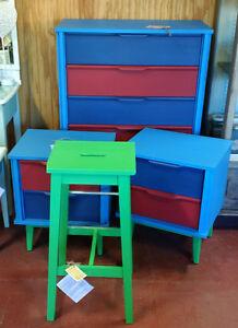Kids Bedroom Suite/ Dresser, Night Stands, Stool