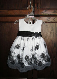 Girls white/black fancy dress in size 12months