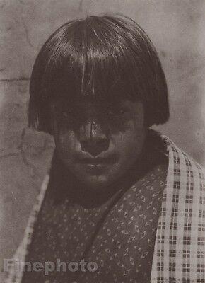 1900/72 Photo Gravure NATIVE AMERICAN INDIAN Boy Santo Domingo Art CURTIS 11x14
