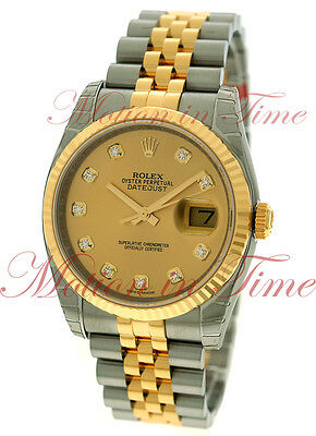 Rolex Datejust 36mm Two tone Jubilee Bracelet Champagne Diamond Dial 116233
