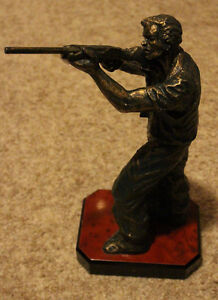 "Hunter with Shot Gun Statue, Heavy Black & Gold, 13"" High"