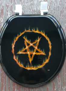 One of a kind Airbrushed Flaming Pentagram toilet seat