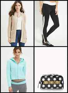 Lot of 20 NEW women clothing leggings cardigans hoodies fit M