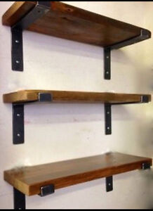 Industrial steel and wood shelving
