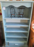 BOOKCASE, HUTCH AND SHELVING