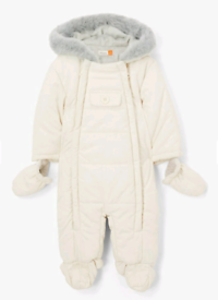 John Lewis baby snowsuit in cream, 6-9 months