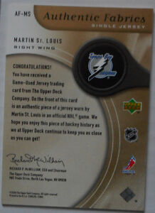 Martin St-Louis , 2005-06 , SP Game Used, Authentic Fabrics Gold Gatineau Ottawa / Gatineau Area image 2