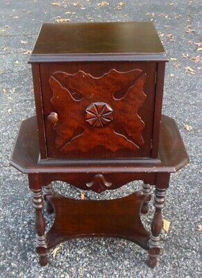 Vtg HUMIDOR CABINET Table TOBACCO Cigars Smoking Copper Liner