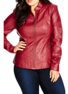 Womens Red Motorcycle Jacket XXL