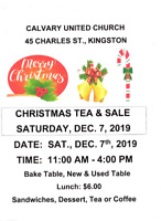 CHRISTMAS TEA & SALE - Cavalry United Church - FREE ADMISSION