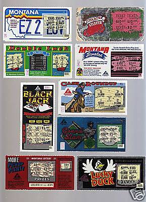 (9) 1980'S  MONTANA ORIGINAL 1ST LOTTERY ISSUED  TICKETS ! RARE !  ORIGINALS