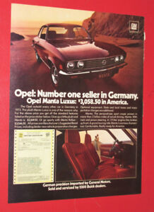 1973 OPEL MANTA LUXUS COUPE VINTAGE CAR AD - ANONCE AUTO 70S