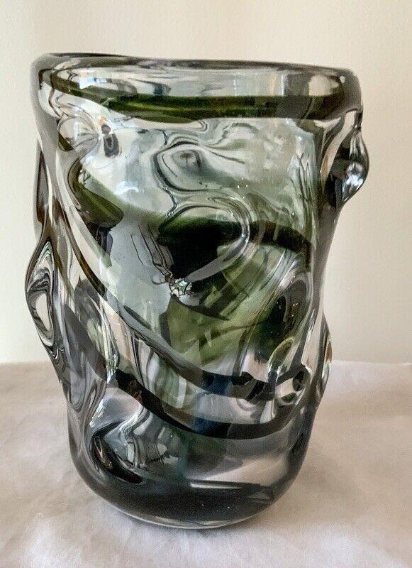 Whitefriars #9610 Wilson / Dyer Streaky Green Glass Knobbly Vase 1964-70 MCM 18c