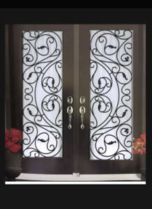 Door glass inserts Stained glass and wrought iron doors glass