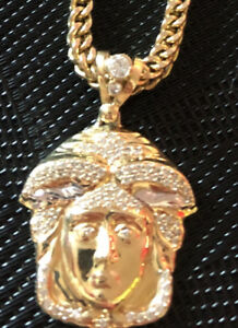 Franco Chain 4.2 mm 28 inch 10k with Versace pendant 14k