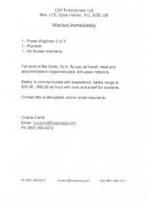 Power Engineer (2 or 3), Plumber & Oil Burner Mechanic Needed