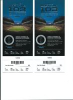 2 fantastic Grey Cup Tickets row 1, behind Players Bench