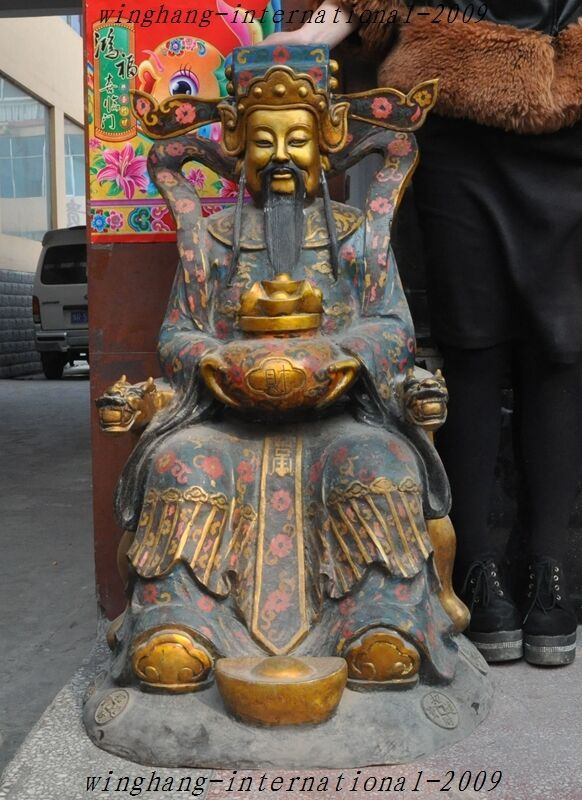 Old Chinese Gilt Bronze Cloisonne Enamel Yuanbao Wealth God Mammon Buddha Statue