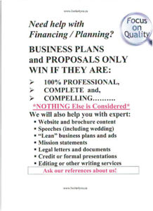 SUPERB BUSINESS PLANS, WEBSITE COPY, ETC., at GREAT PRICES!