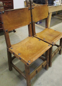 Vintage Pair of Leather Table Chairs Kitchener / Waterloo Kitchener Area image 2