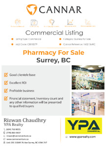 Pharmacy For Sale In Surrey, BC