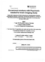 Occasional Smokers diagnosed with psychosis needed