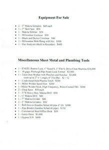 Equipment and Tools For Sale
