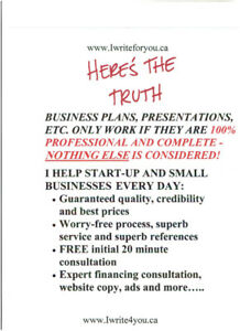 EXPERT BUSINESS PLANS, PROPOSALS, ADS, ETC. - SUPER PRICES!