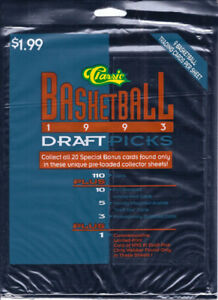 13 Classic Basketball 1993 Draft Picks 9 Trading Cards Per Sheet