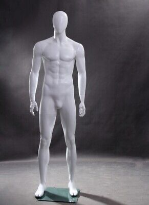 Male Adult Full Body Egg Head Fiberglass Mannequin With Square Glass Base