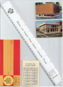 Vintage 1970s LINCOLN TRUST Collectible Ruler, cards, cheque