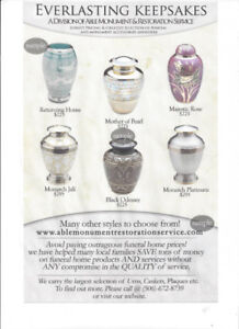 WE ARE THE LARGEST WHOLESALE SUPPLIER OF CREMATION URNS IN N.B