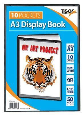 Tiger A3 Display Book 10 Pocket School Artwork Storage Presentation Folio Folder for sale  Shipping to Ireland