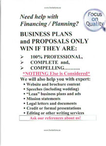 EXPERT BUSINESS PLANS and MORE - SUPERB PRICES!