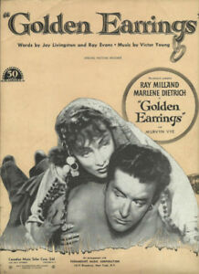 GOLDEN EARRINGS Ray Milland / Marlene Dietrich SHEET MUSIC Avai