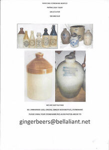 MARITIME STONEWARE, CROCKS, JUGS, GINGER BEER BOTTLES WANTED