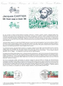 Feuillet Musée de la poste France 1984 Jacques Cartier