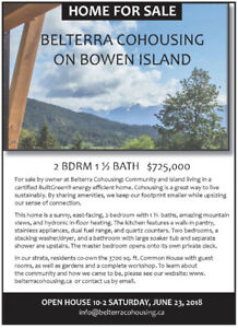 FOR SALE BY OWNER - BELTERRA COHOUSING ON BOWEN ISLAND